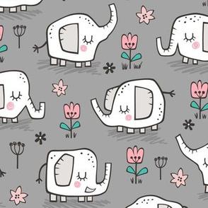 Elephants With Flowers on Grey