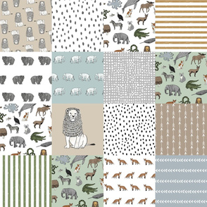abc quilt // animal woodland nature safari ABC's animals nursery fabric wholecloth