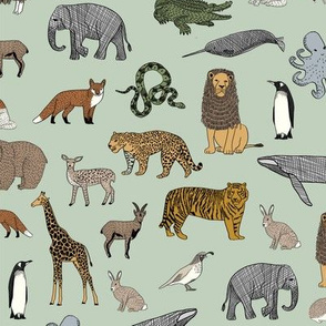 abc quilt // animal woodland nature safari ABC's animals nursery fabric