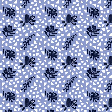 Little Australian Wildflowers: Bright Blue fabric by janetdrummond on Spoonflower - custom fabric