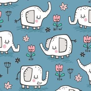 Elephants With Flowers on Dark Blue Navy