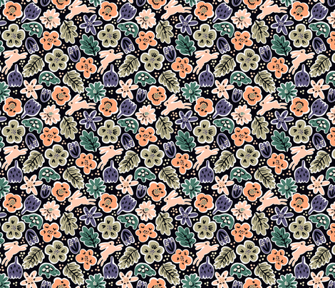 Hare and Tortoise smaller scale fabric by janetdrummond on Spoonflower - custom fabric