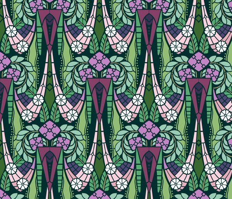 Gatsby style elaborate floral fabric by hannafate on Spoonflower - custom fabric
