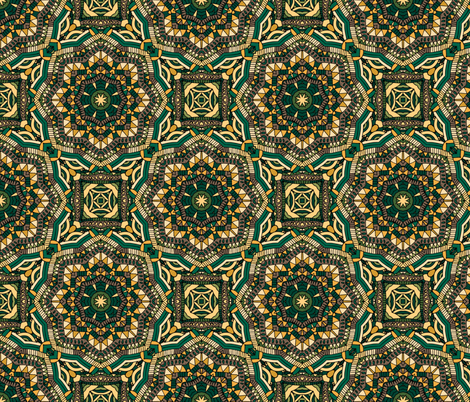 Green yellow mandala pattern fabric by juliabadeeva on Spoonflower - custom fabric