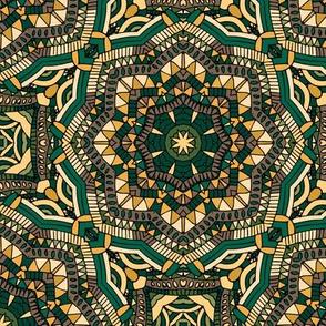 Green yellow mandala pattern