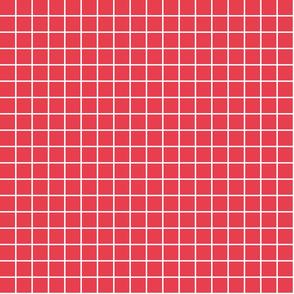 "bold coral windowpane grid 1"" reversed square check graph paper"