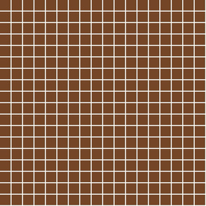 "chocolate brown windowpane grid 1"" reversed square check graph paper"