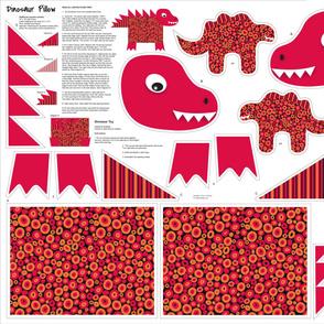 Dinosaur Kids Pillow Cut and Sew Black Red Orange