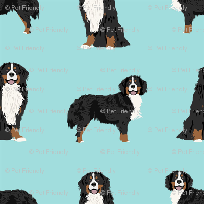 Bernese Mountain Dog dog breed fabric pet lovers sewing projects blue