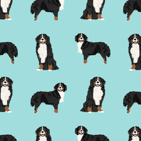Bernese Mountain Dog dog breed fabric pet lovers sewing projects blue fabric by petfriendly on Spoonflower - custom fabric
