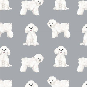 bichon frise dog breed fabric pet lovers sewing projects grey