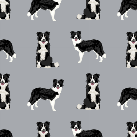border collie dog breed fabric pet lovers sewing projects grey fabric by petfriendly on Spoonflower - custom fabric