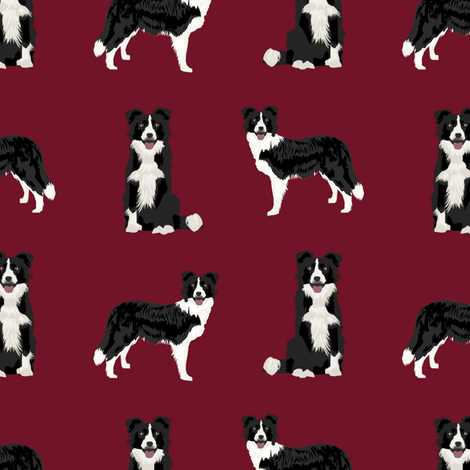 border collie dog breed fabric pet lovers sewing projects ruby fabric by petfriendly on Spoonflower - custom fabric