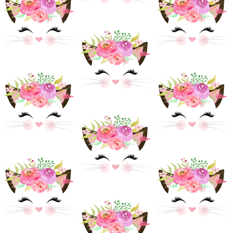 Fancy Cat – Pink, Blush, Lavender Flowers fabric by gingerlous on Spoonflower - custom fabric