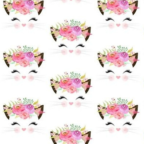 Fancy Cat – Kitty Pink Blush Lavender Flowers #1