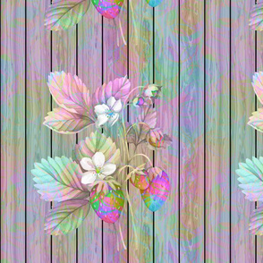 WATERCOLOR rainbow LARGE STRAWBERRY MIX ON WOOD AQUA VERTICAL