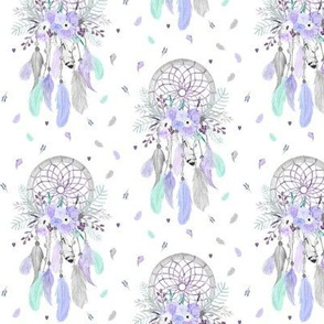Girly Dream Catchers – Lavender Purple Mint Gray Feathers Baby Girls Nursery GingerLous SMALL SCALE C