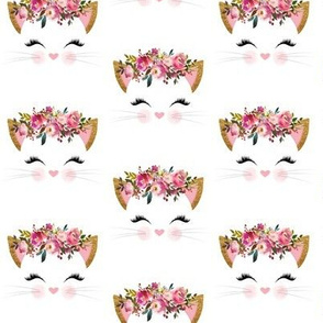 Fancy Cat – Pink, Blush, Burgundy Flowers