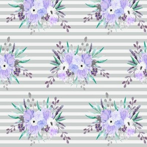 Lavender Floral on Gray Stripes