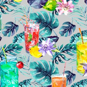 tropical watercolor summer fruity drink light grey white