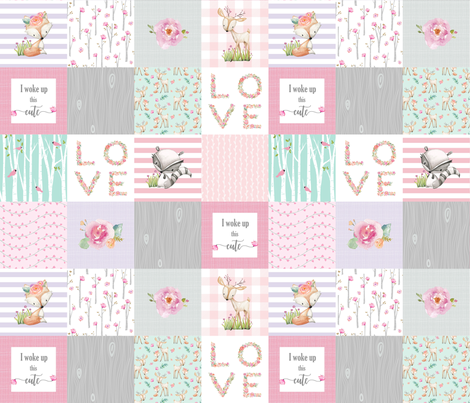 Pink Woodland Animals Baby Girl Quilt Top - Deer Fox - I Woke Up This Cute Patchwork Wholecloth Baby Blanket, Gray Mint Lavender fabric by gingerlous on Spoonflower - custom fabric