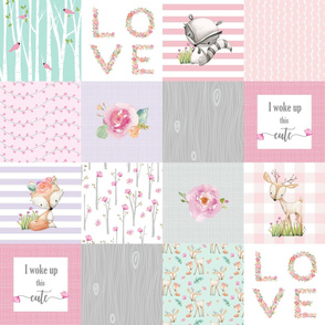 Pink Woodland Animals Baby Girl Quilt Top - Deer Fox - I Woke Up This Cute Patchwork Wholecloth Baby Blanket, Gray Mint Lavender
