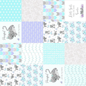 Purrrfect Kitten Patchwork Quilt (rotated)- Aqua, Lavender & Grey - Purrrfect... just like my mama
