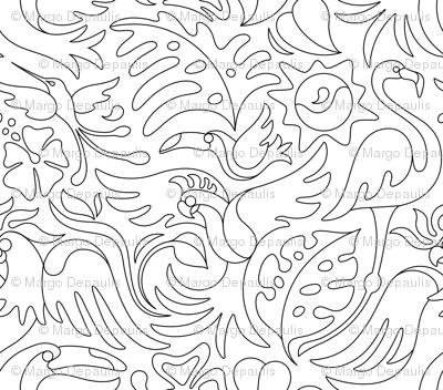 Tropical Bird Coloring Book