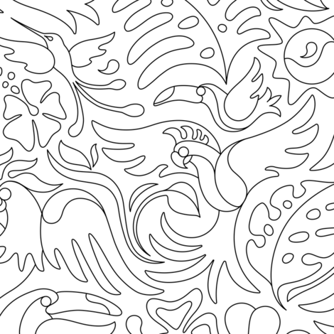 Tropical Bird Coloring Book Fabric By Margodepaulis On Spoonflower