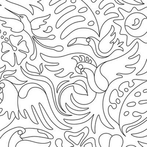 Tropical Bird Coloring Book