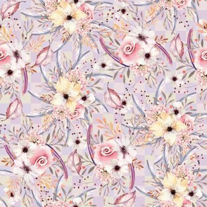 WATERCOLOR FLOWERS ON GINGHAM MAUVE YELLOW COORDINATE TO SPRING TEEPEE