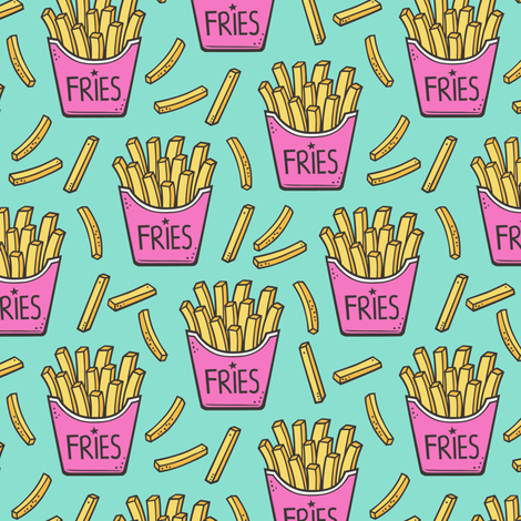 French Fries Fast Food Pink on Mint Green Smaller 2 inch fabric by caja_design on Spoonflower - custom fabric