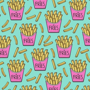 French Fries Fast Food Pink on Mint Green Smaller 2 inch