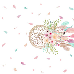 Dream Catcher Blanket Panel – Pink Mint Aqua Feathers Baby Girl Crib Bedding