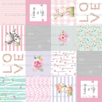 Pink Woodland Animals Baby Girl Quilt Top (rotated) - Deer Fox - I Woke Up This Cute Patchwork Wholecloth Baby Blanket, Gray Mint Lavender