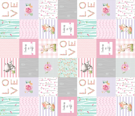 Pink Woodland Animals Baby Girl Quilt Top (rotated) - Deer Fox - I Woke Up This Cute Patchwork Wholecloth Baby Blanket, Gray Mint Lavender fabric by gingerlous on Spoonflower - custom fabric