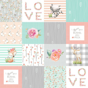 LOVE Baby Girl Quilt Top - I Love You a Bushel and a Peck - Woodland Baby Girl Blanket Gray Mint Peach