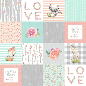 I Love You a Bushel and a Peck Quilt Top - Baby Girl Blanket Gray Mint Peach