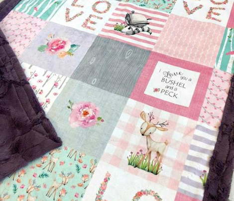 Woodland Patchwork- I Love You a Bushel and a Peck Quilt Top (rotated) - Baby Girl Blanket Gray Lavender Pink