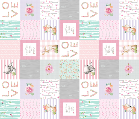 Woodland Patchwork- I Love You a Bushel and a Peck Quilt Top (rotated) - Baby Girl Blanket Gray Lavender Pink fabric by gingerlous on Spoonflower - custom fabric