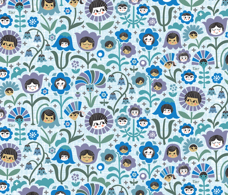 Sisters & Brothers (Purple Blue) fabric by studio_amelie on Spoonflower - custom fabric