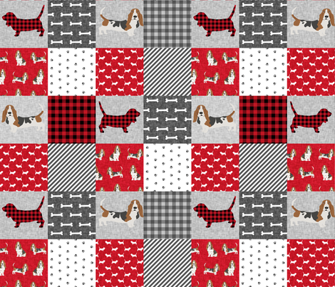 basset hound pet quilt a cheater quilt dog breed fabric wholecloth fabric by petfriendly on Spoonflower - custom fabric