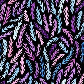 dark colorful watercolor branches