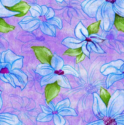 blue vintage flowers