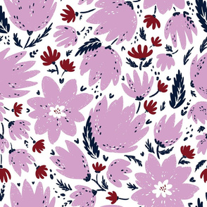 pink blooming florals light