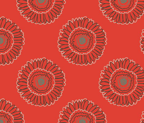 retro red gerbera fabric by nettieandliz on Spoonflower - custom fabric