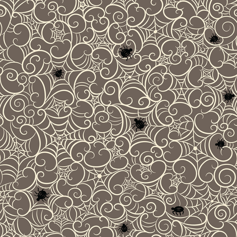 Spooky Swirl Cobwebs on Gray fabric by johannaparkerdesign on Spoonflower - custom fabric
