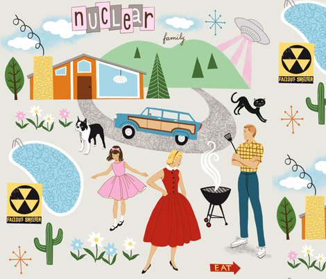 Nuclear Family fabric by ruby_ritz on Spoonflower - custom fabric