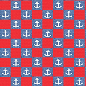 3 pixelated anchors with red