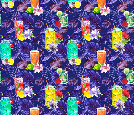 tropical watercolor summer fruity drink purple watercolor fabric by floweryhat on Spoonflower - custom fabric